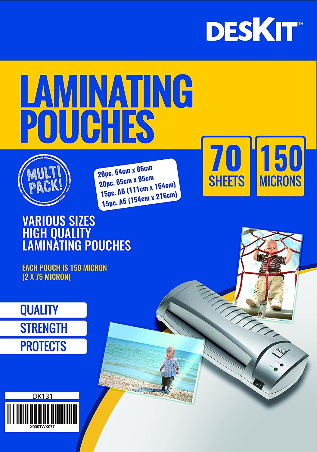 Multi Sized Laminating Pouches – 70 Pouches –- 150 Microns Allkit