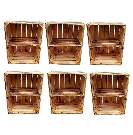 Cajas de madera flameada para uso como zapatero o estantería de libros - Caja