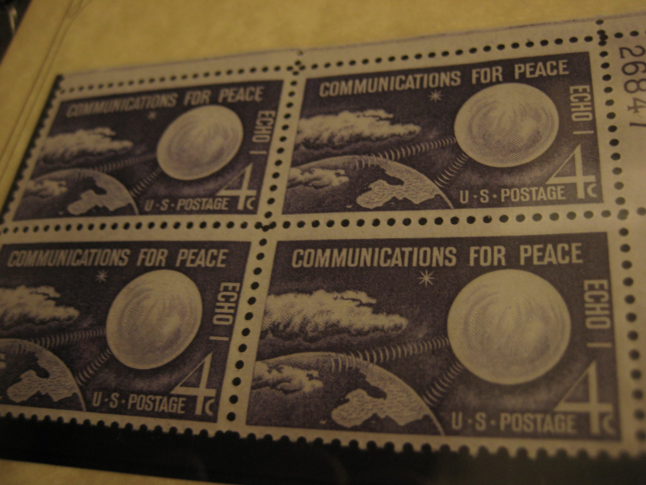 1960, Four Cent Echo I Communications For Peace Issue Postage Stamp, Block of 4