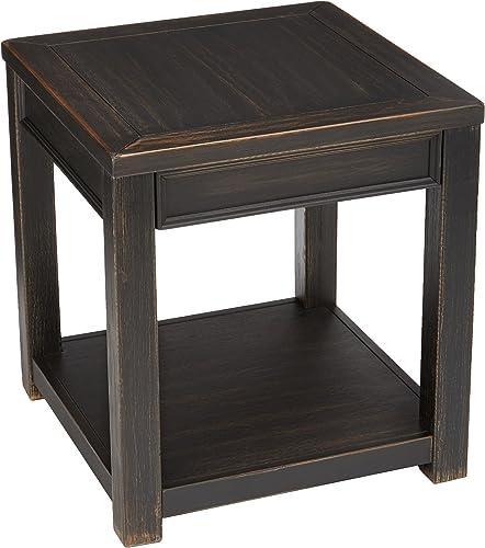Signature Design by Ashley – Gavelston End Table w Fixed Shelf, Rubbed Black Finish