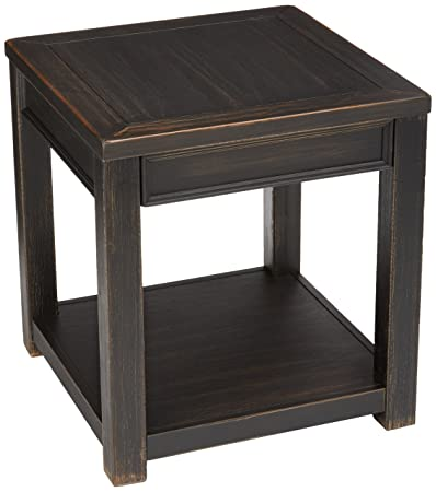 Ashley Furniture Signature Design – Gavelston End Table – Square – Rubbed Black Finish