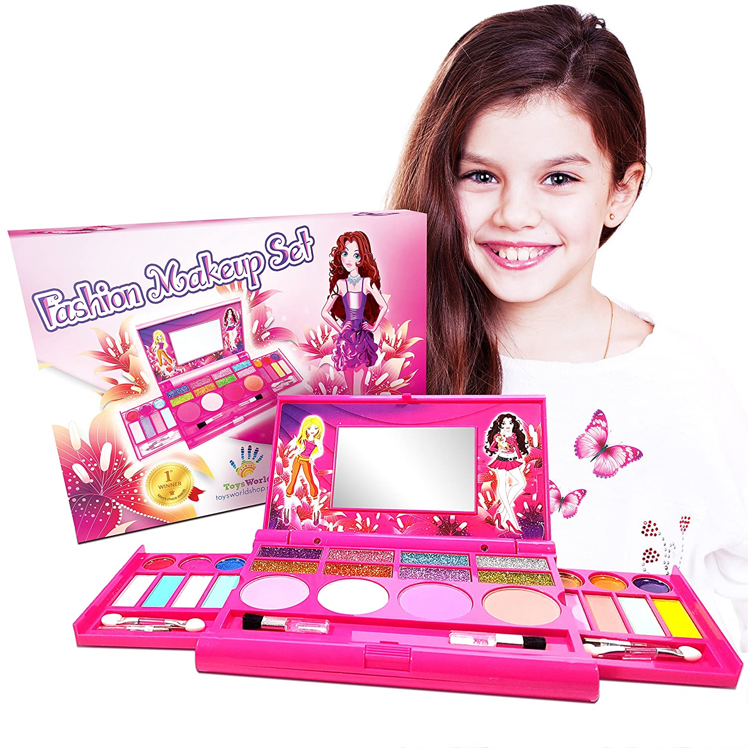 Makeup for Girls - Princess Fashion Girls Makeup Vanity Cosmetics Set - Washable Real Girl Makeup Kit - Deluxe Cosmetic Palette with Mirror for Girls - Beauty Cosmetics Girl Fashion Kit - NON TOXIC