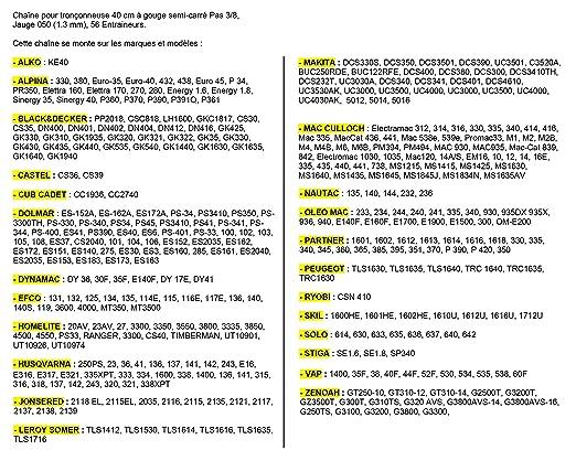 Cadena Pro 40cm Motosierra 3/8-050-1,3mm 56 entrenadores=91-56E: Amazon.es: Jardín
