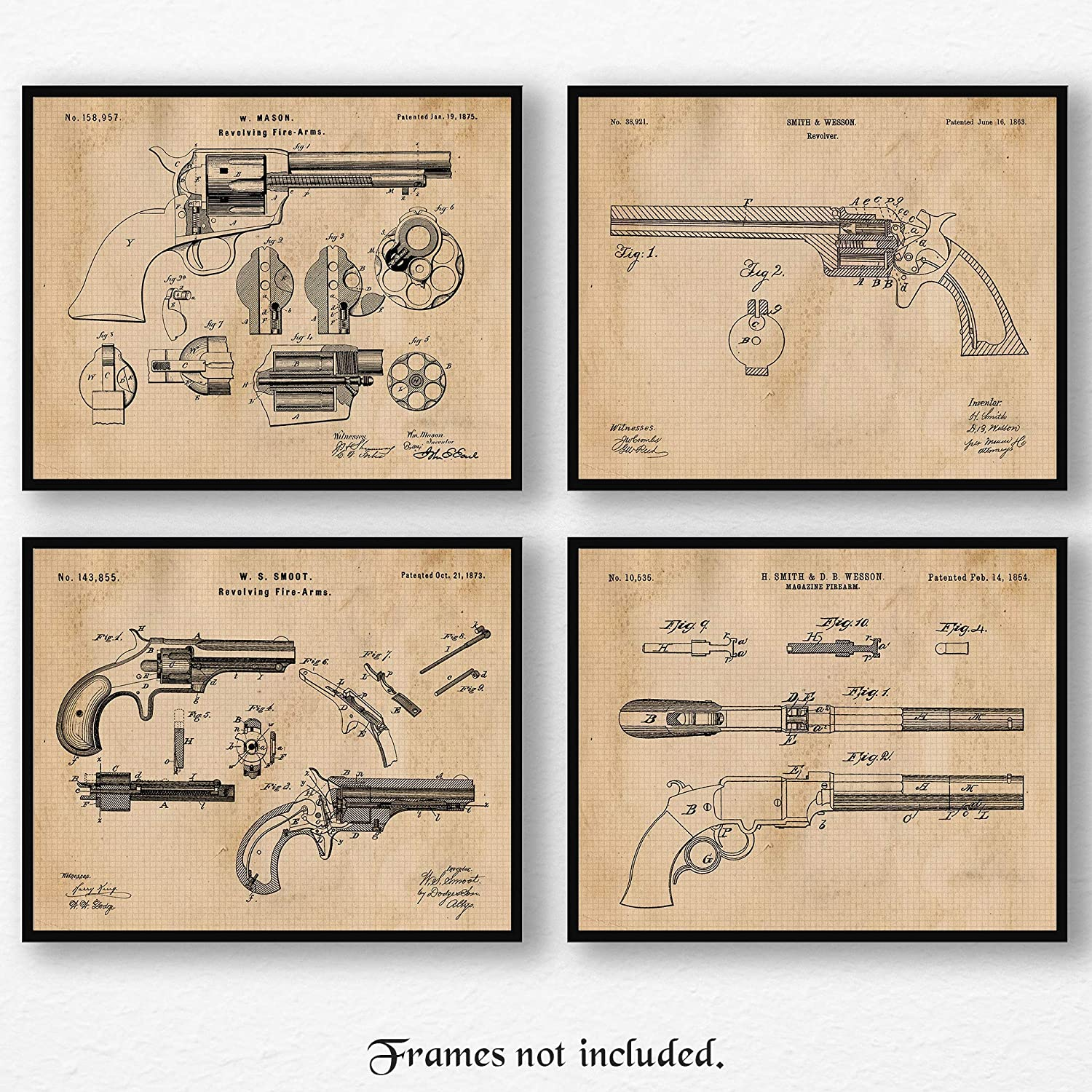 Original Smith & Wesson, Colt Peacemaker Gun Patent Poster Prints, Set of 4 (8x10) Unframed Photos, Wall Art Decor Gifts Under 20 for Home, Shop, College Student, Teacher, Cowboys, NRA & Movies Fan