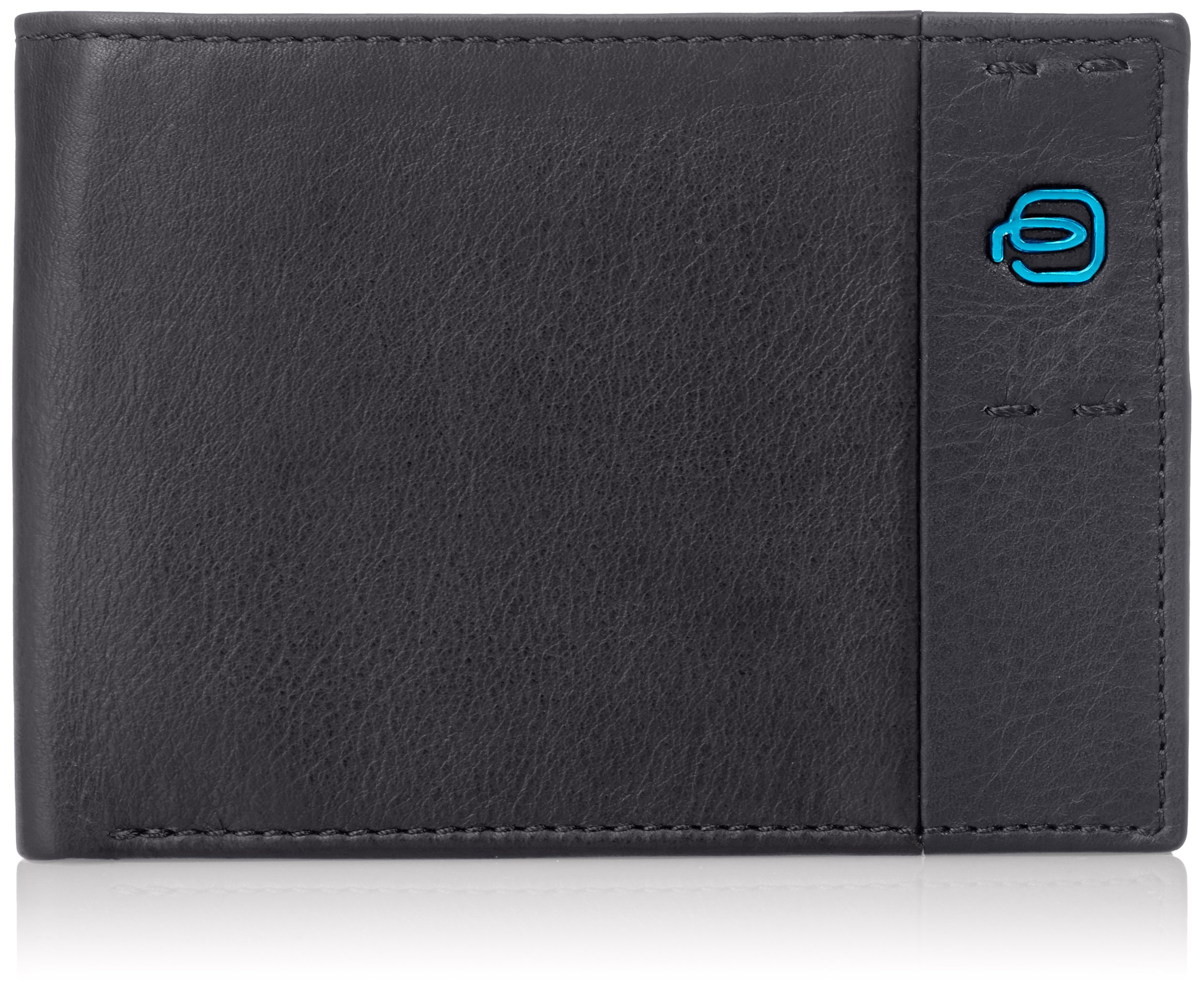 Piquadro Men's Leather Wallet with Flip Up ID, Black/Black, One Size