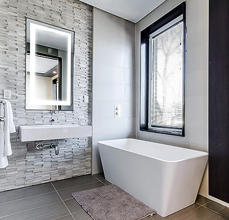 SYC CO Stylish LED Lighted Wall Mount Bathroom Mirror Frameless Vanity Make Up Mirror w Defogger 36×28 Illuminated Mirror Ready to Hang Vertical Horizontal