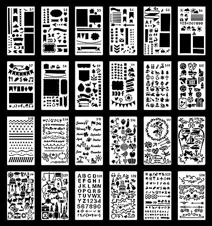 Plantillas para Bullet Journal | Plantillas de Plástico Reutilizables para Escribir, Agendas, Arte, Manualidades | 24 plantillas | Números, letras, ...