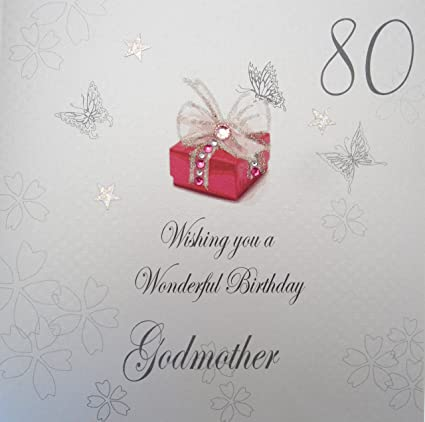 WHITE COTTON CARDS 80 Wishing You A Wonderful Handmade Birthday Card Godmother 80th Amazoncouk Kitchen Home