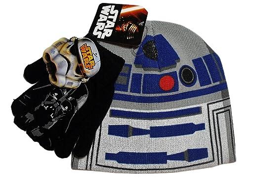 5a0c3de5940 ... discount code for star wars r2 d2 grey blue knit beanie hat darth vader  black gloves