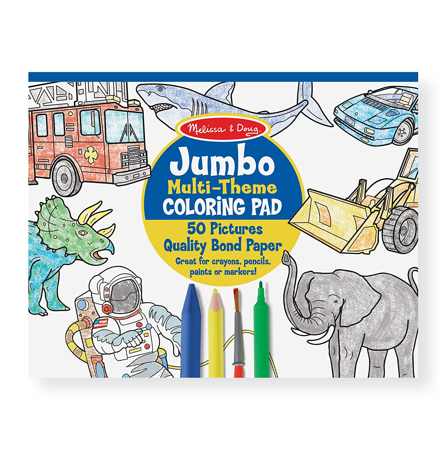 Melissa & Doug Jumbo 50-Page Kids\' Coloring Pad - Space, Sharks, Sports,  and More