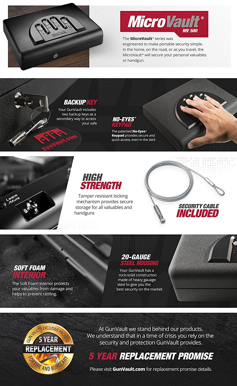 Amazon com : GunVault MV500 Microvault Pistol Gun Safe