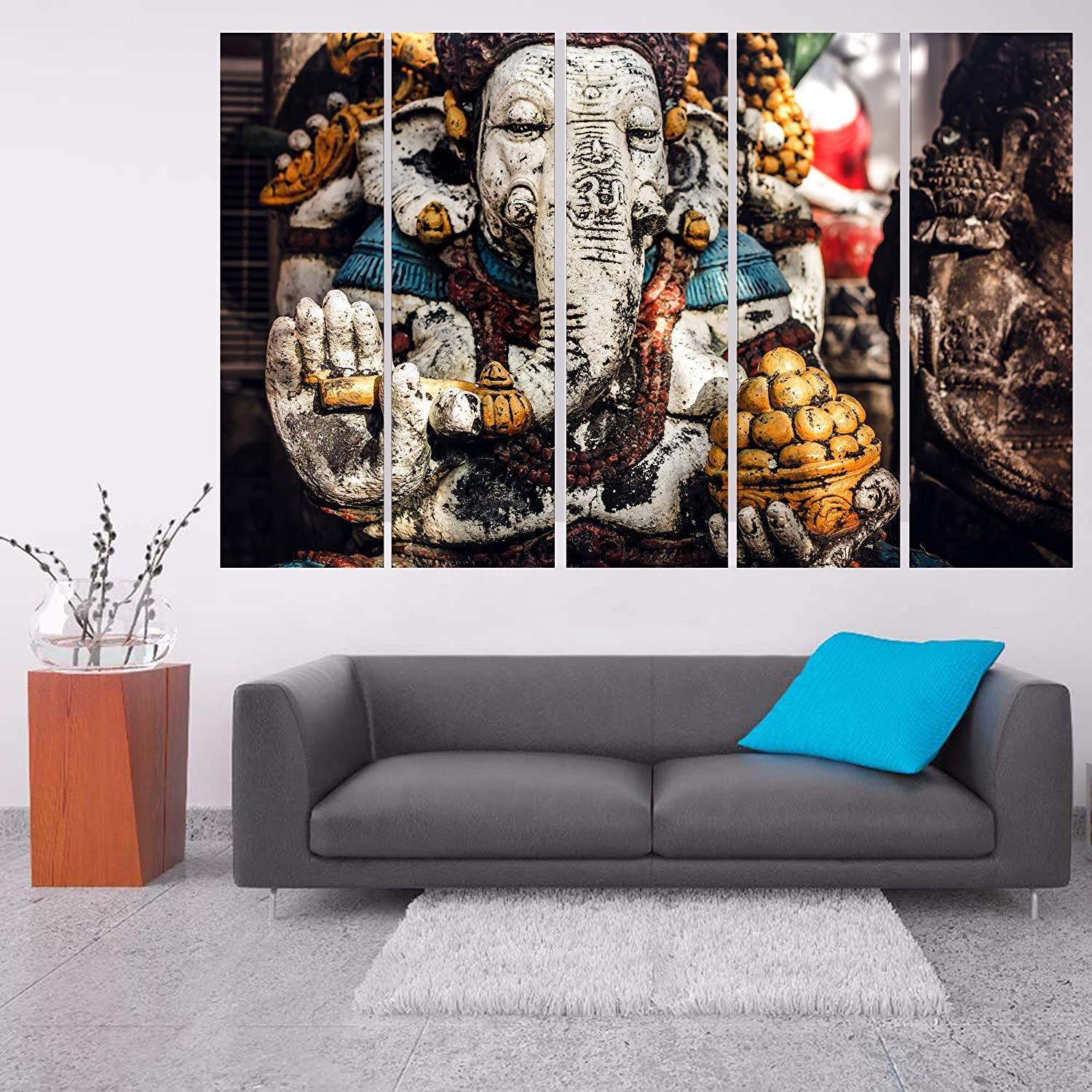 Kyara Arts Multiple Frames Beautiful Modern Art Ganesha Wall Painting For Living Room Bedroom Office Hotels Drawing Room Wooden Framed Digital Painting 50inch X 30inch Amazon In Home Kitchen