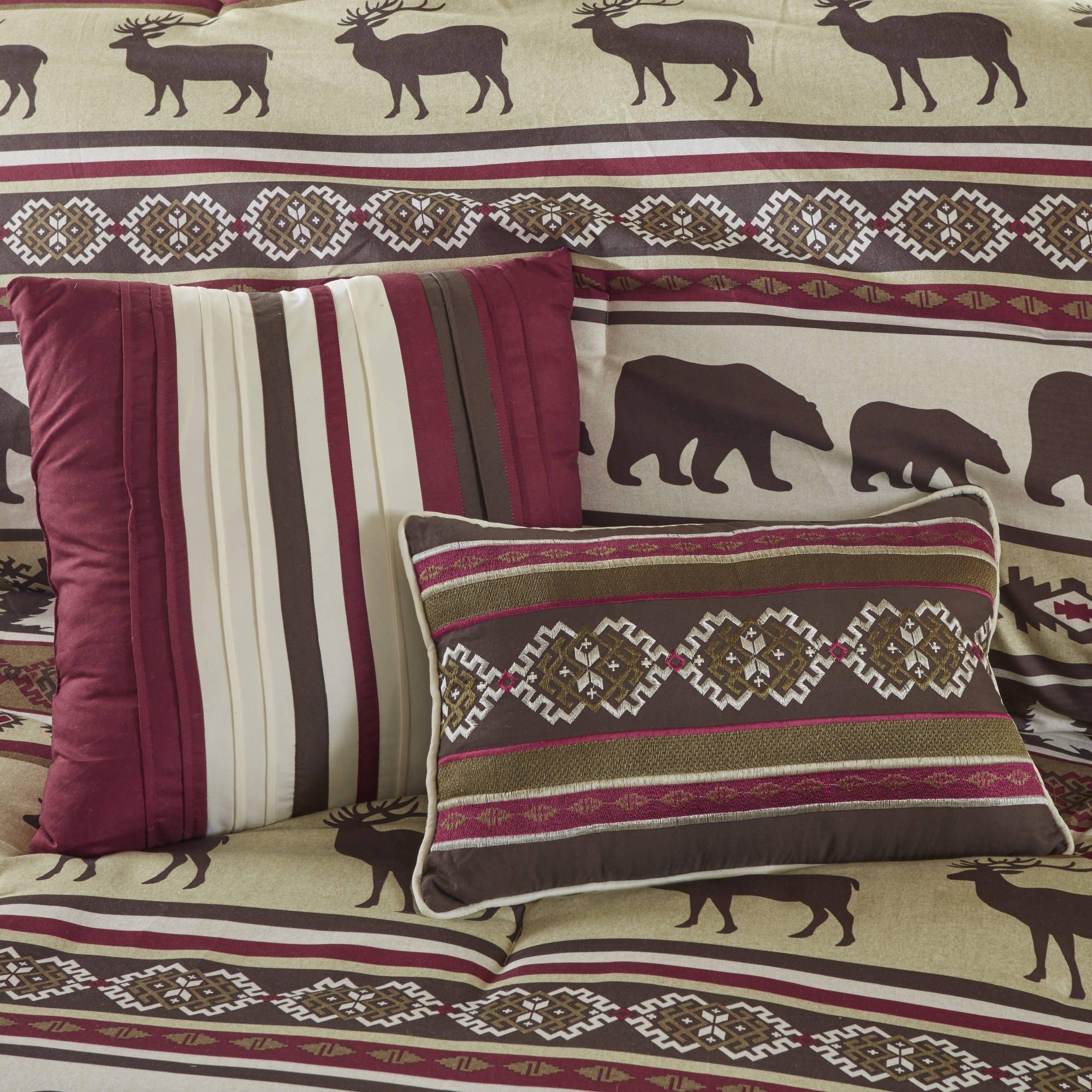 7 Piece Brown Red Cabin Lodge Stripes Pattern Comforter King Set, Beautiful Pine Trees, Bears, Elk Deer, Hunting Animal Stripe-Inspired Nature Motif Design, Soft & Comfy Bedding, Polyester, Unisex by AD (Image #3)