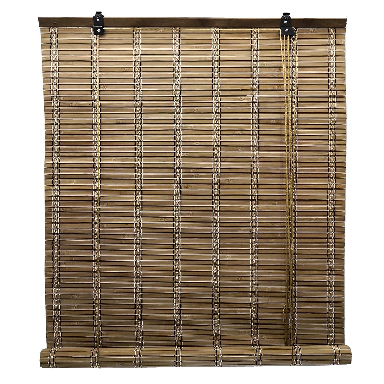 Store enrouleur bambou / Store venitien bois / Store fenetre occultant pour les fenê tres et les portes, largeur x longueur = (110 x 135 cm, Marron) ERA RADIANTE S.L.
