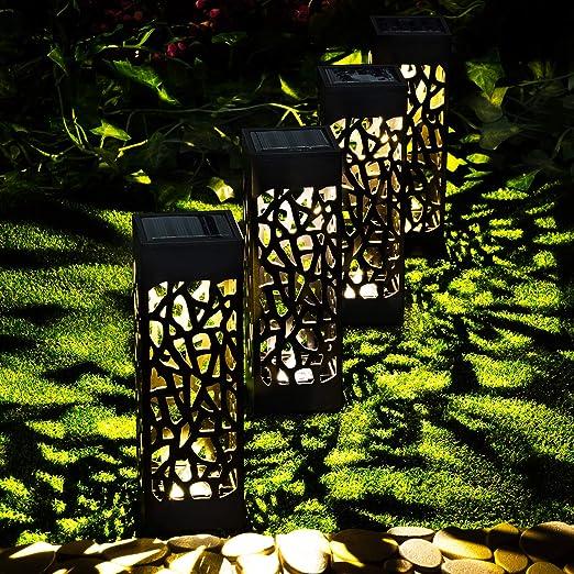 GloBrite 4 luces solares huecas de camino para jardín, estaca de jardín, luces decorativas para exteriores, impermeables, paisajismo, borde de patio, luces: Amazon.es: Iluminación