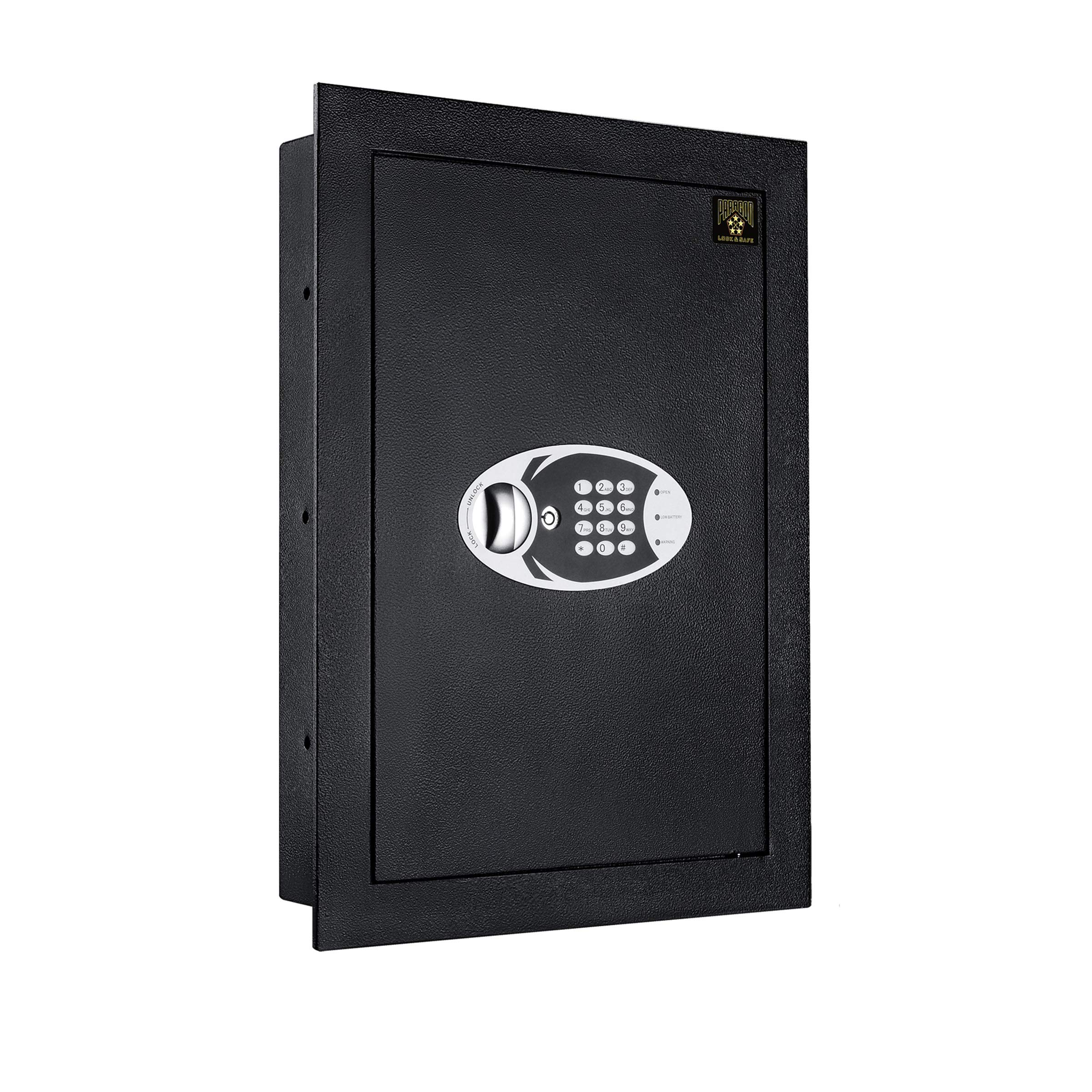Paragon Digital Safe-Electronic Steel Wall Mount Safe with Keypad, 2 Manual Override Keys-Protect Money, Jewelry, Passports-For Home or Business
