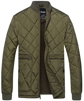 Wantdo Mens Quilted Bomber Jacket Warm Padded Outdoor Diamond