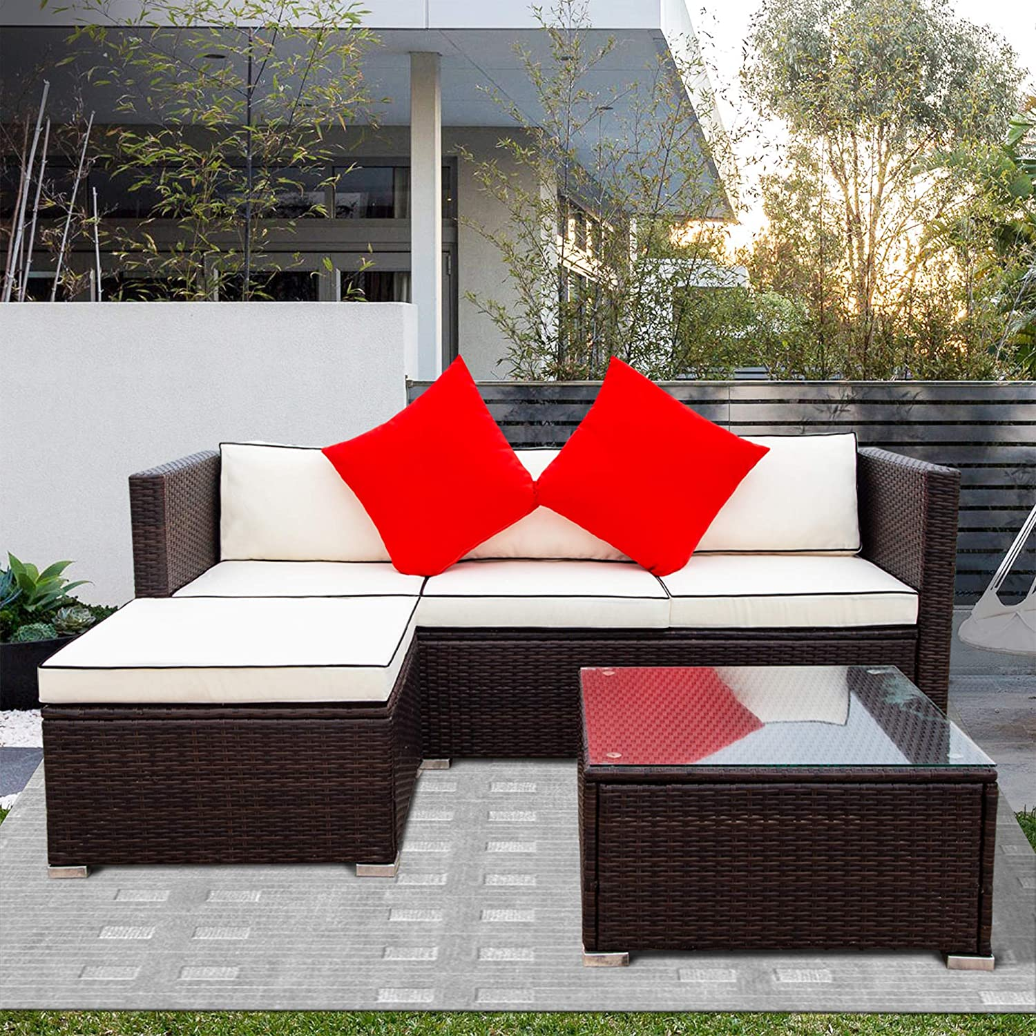 MGH Outdoor Patio Furniture Set, 3 Piece Patio Wicker Rattan Sectional Conversation Sofa Set with Storage Box and Glass Table for Garden, Porch, Backyard, Cream Cushions