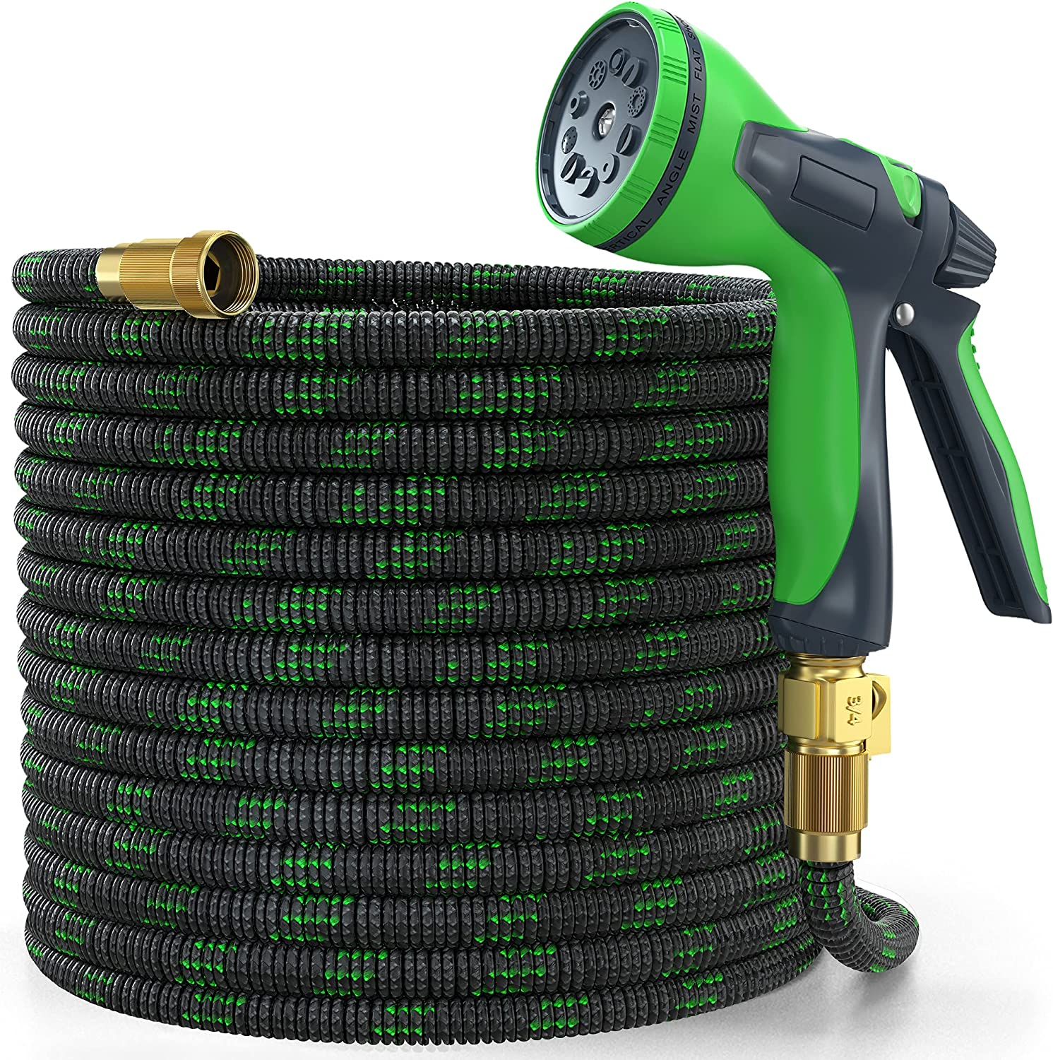 YEMMEN Garden Hose 50ft Expandable Water Hose with 10 Function Nozzle and Solid Brass Fittings