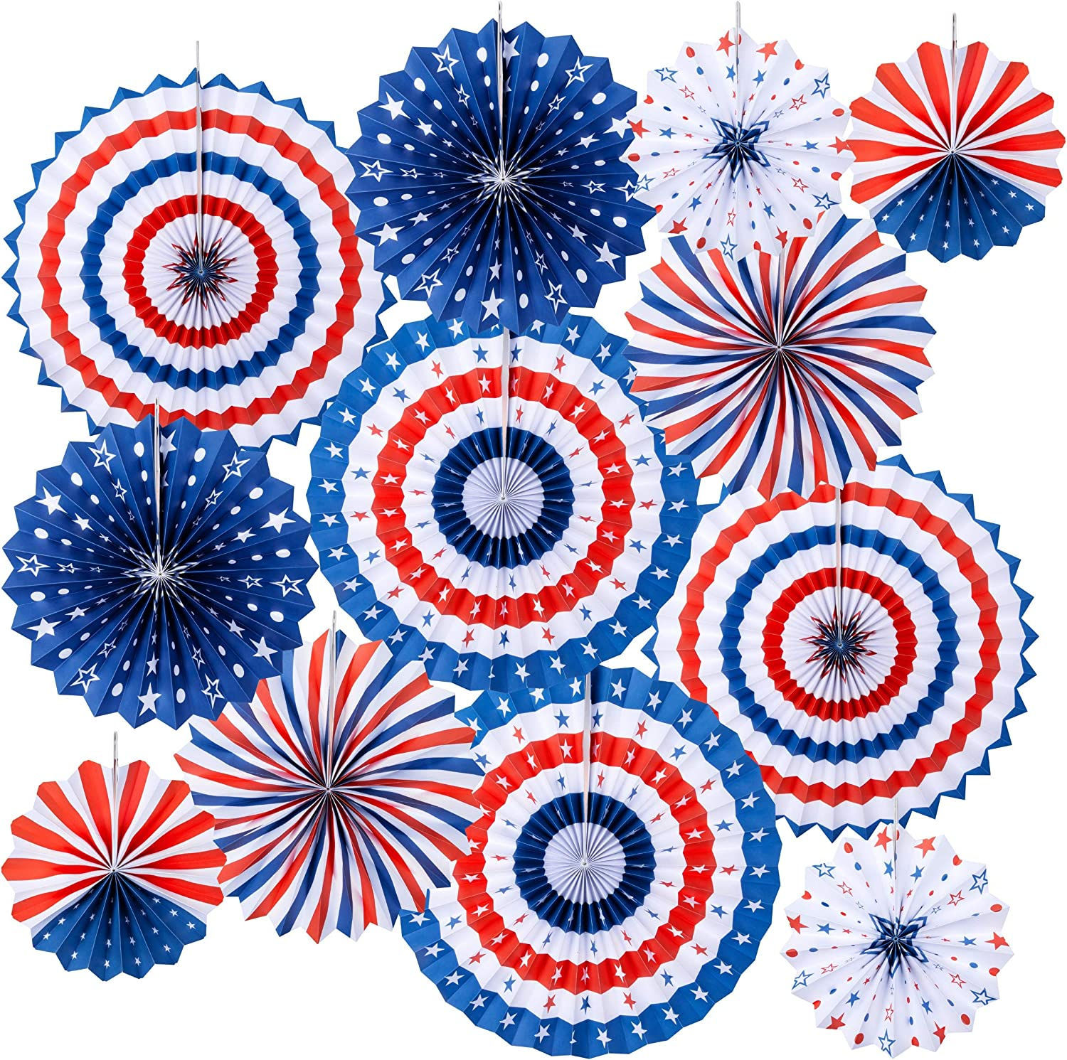 Homarden Patriotic Decorations - 4th of July Decor - American Flag Style Party Decoration - Red, White & Blue Fans for American Holidays - USA Themed Party Decor (Set of 12)
