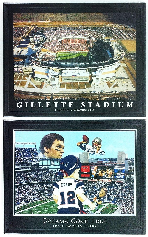New England Patriots Gillette Stadium Framed Aerial Photo and Little Legend Framed Lithograph Set of 2 LL5007