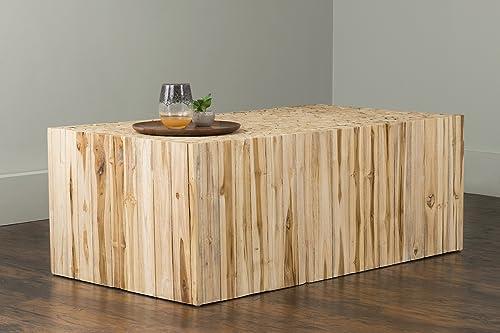 EAST at MAIN Rowan Brown Rectangular Teakwood Coffee Table, 43×23.5×16