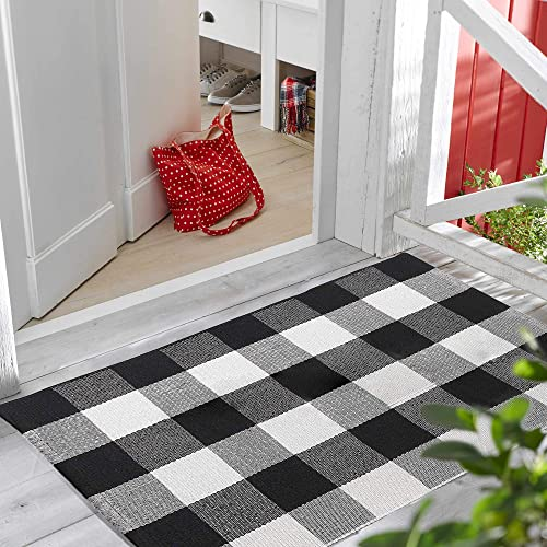 TimHome – Outdoor Rug 27.5 x 43 Inches, Porch Rugs Outdoor Black White, Buffalo Plaid Outdoor Rug – Front Porch Decorations – Farmhouse Kitchen Rugs 27.5 x 43 Porch Decorations Outdoor