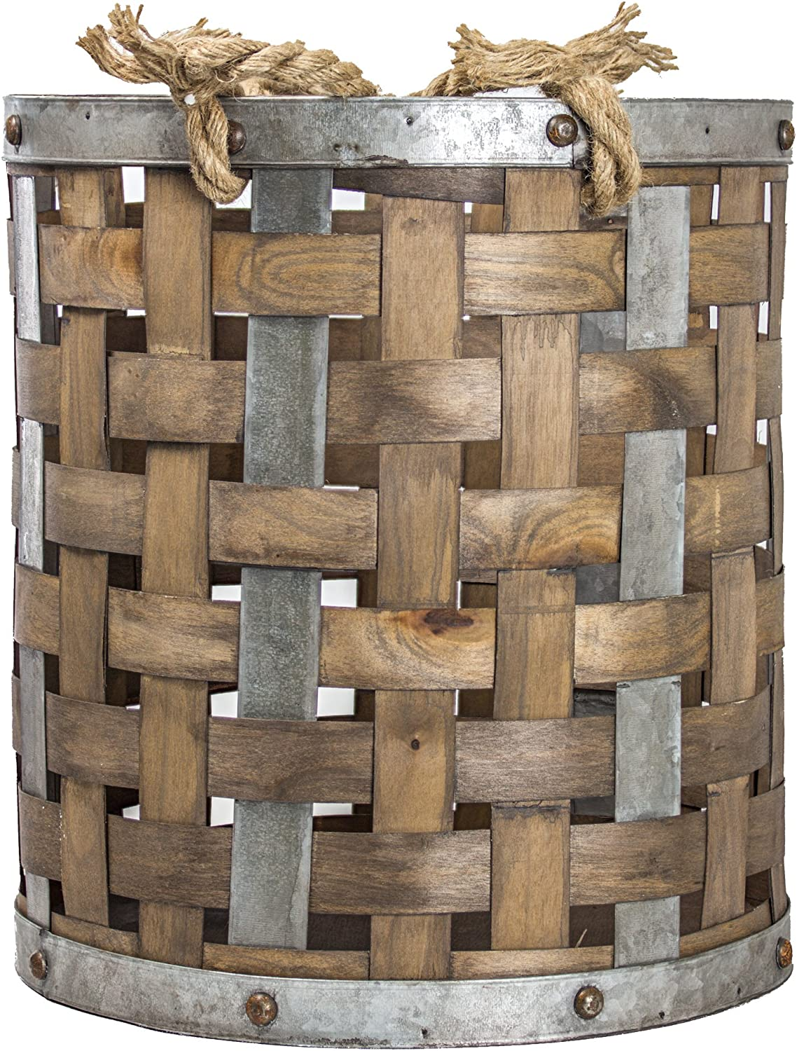 American Art Décor Rustic Bamboo and Metal Storage Basket Vintage Country Farmhouse Decor (Small)
