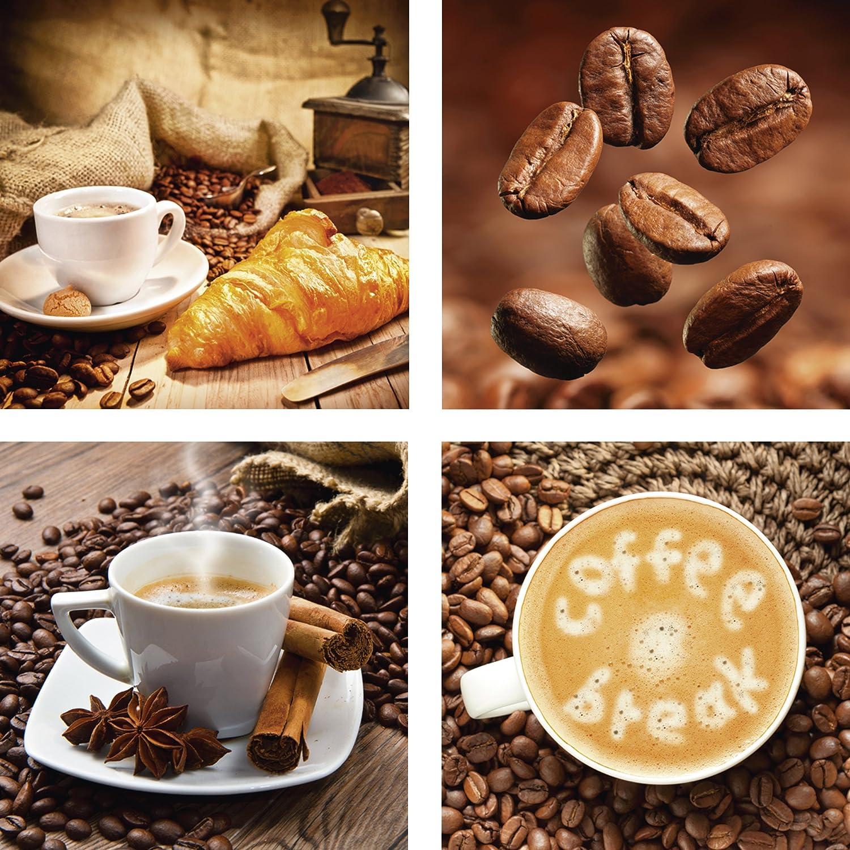 ARTland Qualitätsbilder I Glasbilder Deko Glas Bilder 40 x 40 cm mehrteilig Ernährung Genuss Getränke Kaffee Foto Braun F2BE Kaffeetasse mit Croissant. Nahaufnahme Kaffeebohnen. Tasse und Leinensack. Kaffee Pause