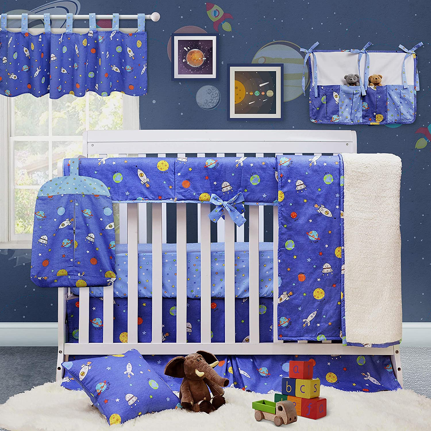 Brandream Crib Bedding Sets for Boys Galaxy Space Theme Bedding 100% Soft Cotton Navy Blue Baby Bedding Crib Set with Long Crib Rail Cover, 9 Pieces