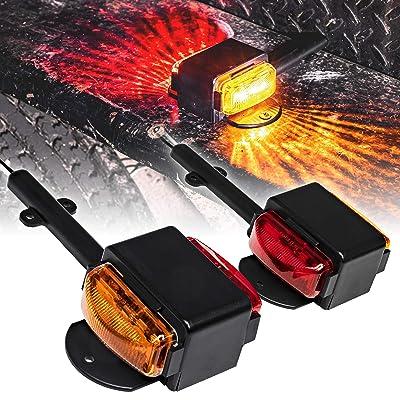 "2pc 7"" Amber + Red LED Trailer Fender Light Set [DOT Approved] [SAE P2] [IP67 Waterproof] Trailer Clearance Marker Lights for Boat Utility Trailer Hauler Car: Automotive"