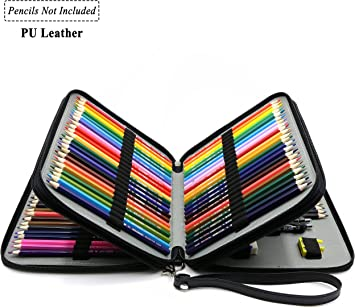 PU Leather Handy Multi-Layer Large Zipper Pen Bag with Handle Strap for Colored//Watercolor Pencil Gray YOUSHARES 72 Slots Pencil Case