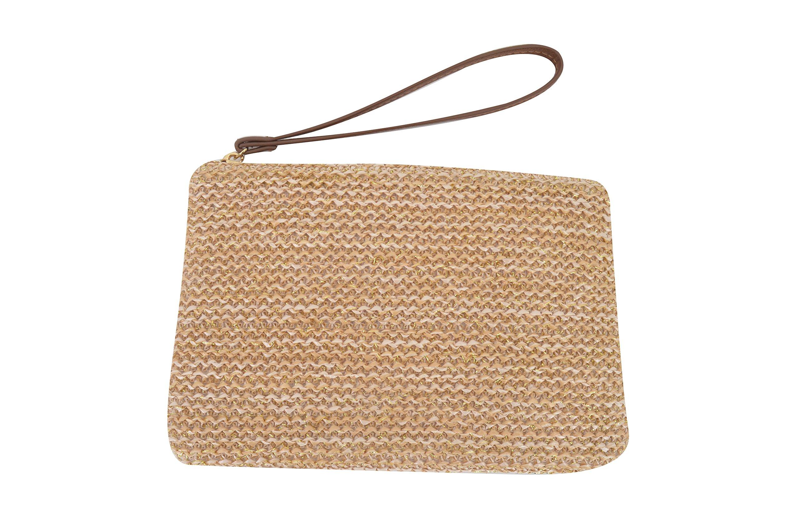 AGNETA Women's Hand Wrist Type Straw Clutch Summer Beach Sea Handbag (Brown Large) by AGNETA (Image #5)