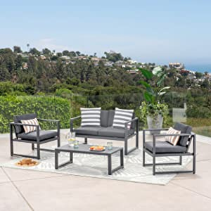 GDF Studio 297269_New Nealie Patio Furniture ~ 4 Piece Outdoor Aluminum Chat Set (Dark Grey)