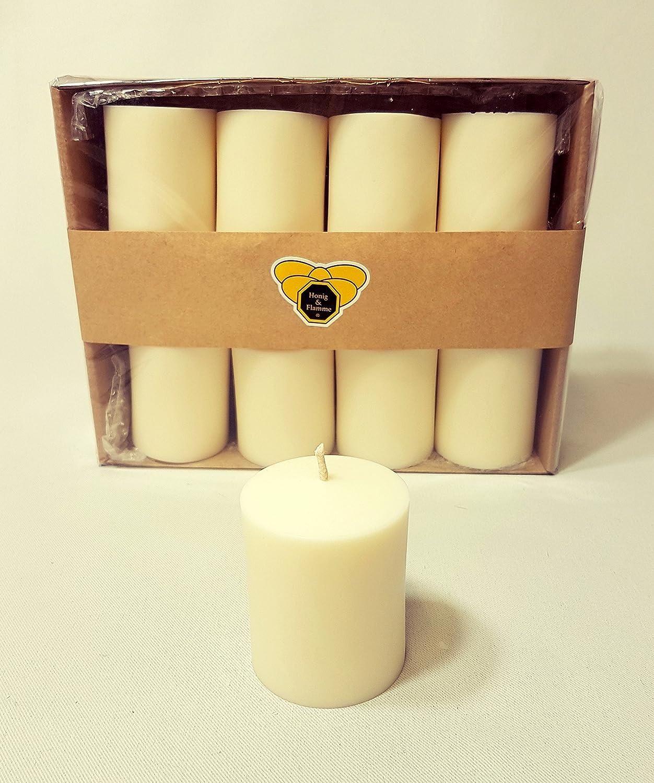 Honig /& Flamme 8/x Bougies votives en Cire Couleur Blanc Colza Vegan purement Naturel Fait /à la Main V/ég/étale respectueux de LEnvironnement