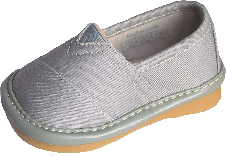 d09088f1a23 Squeaky Shoes Toddler Boys Grey Leather Toms Style Shoes 3 M US