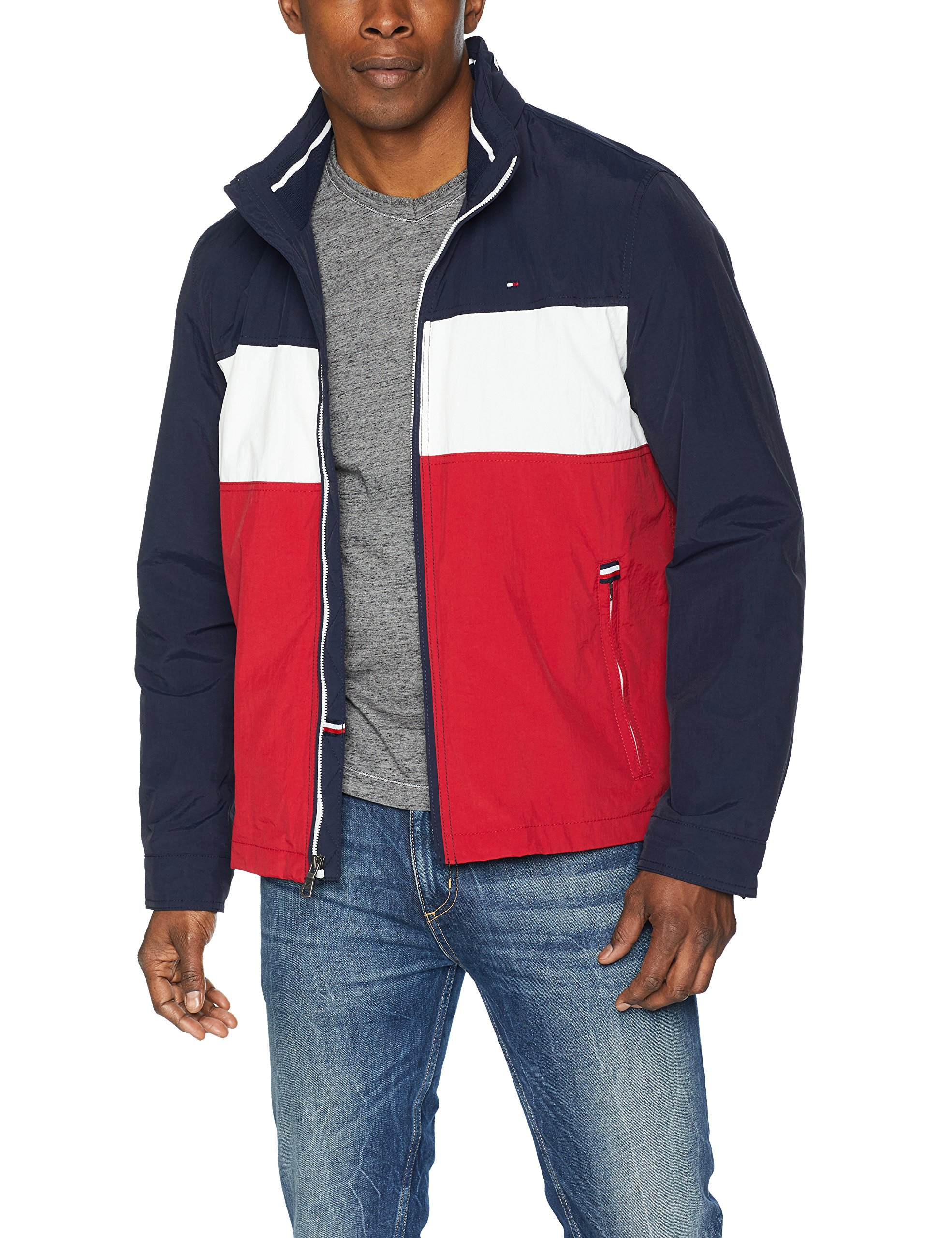 Tommy Hilfiger Men's Stand Collar Lightweight Yachting Jacket, Navy/Ice/Red, Medium by Tommy Hilfiger