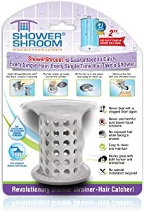 """ShowerShroom The Revolutionary 2"""" Stand-Up Shower Stall Drain Protector Hair Catcher/Strainer Gray"""