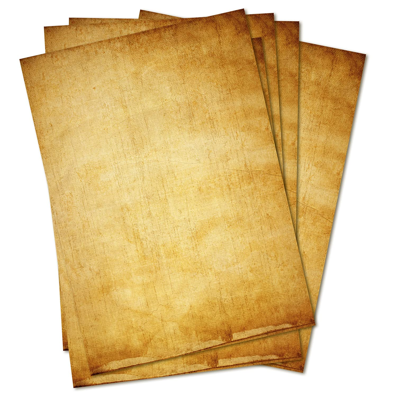 Carta da lettere in stile vintage, 50 fogli, DIN A4, motivo su entrambi i lati,ideale per atti, inviti, nozze, decorazioni, Natale, mappa del tesoro Partycards 370