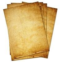 Papier à lettre vintage - Lot de 50feuilles A4- Papiers à motifs imprimés des deux côtés - Effet vieilli Idéal pour les certificats, invitations, mariages, décorations, Noël, cartes au trésor