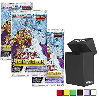 Totem World Yu-Gi-Oh Secret Slayers Multi-Booster Pack Bundle: 3 Secret Slayers Booster Packs with A Premium Totem Deck Box - Perfect for Collectors: Toys & Games