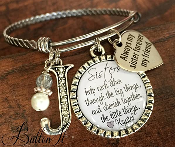 Sister Bracelet SISTER Jewelry Gift Christmas Gifts For HER Big Quote Inspirational Birthday Side By Or Miles