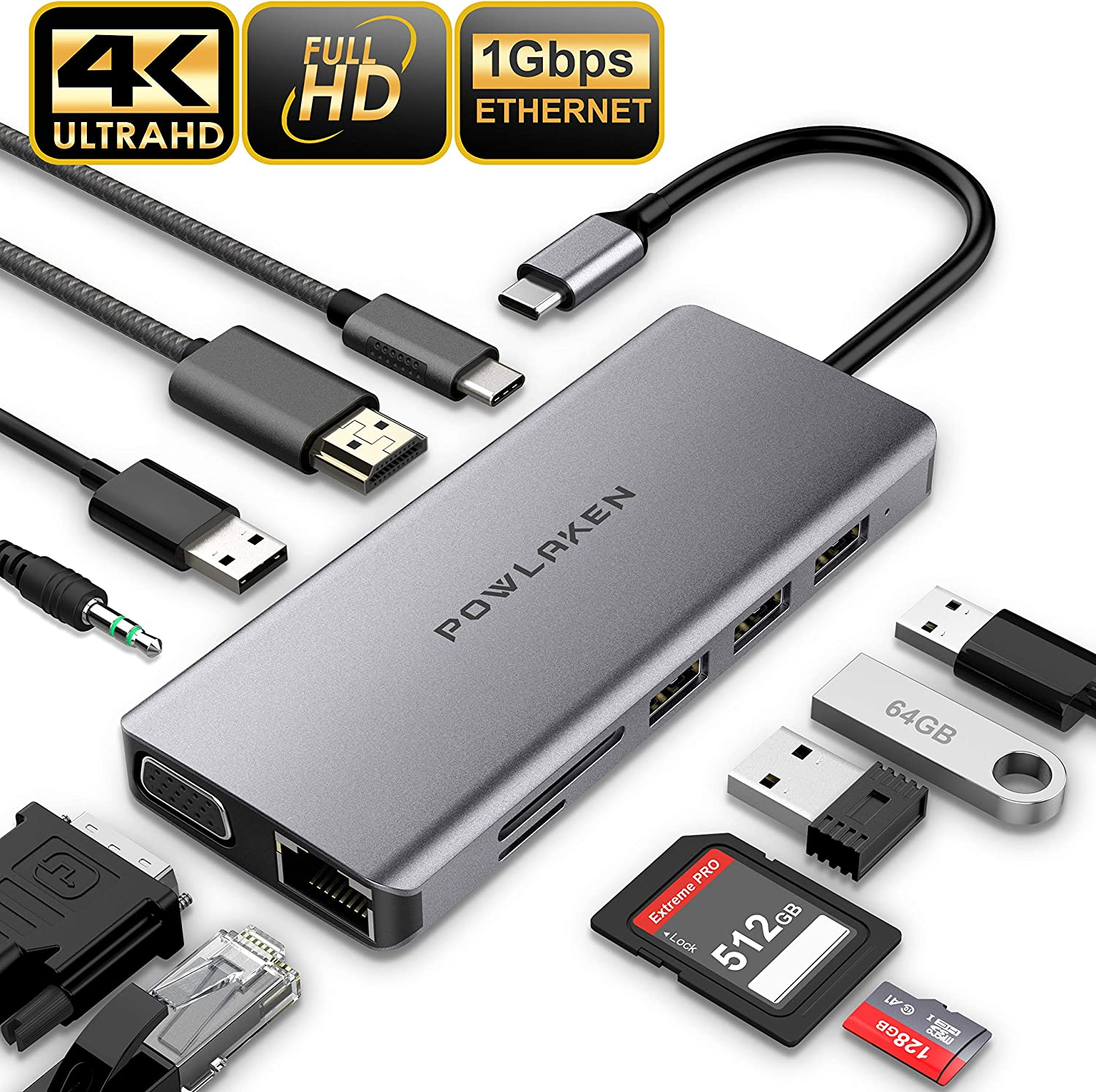 Updated 2019 Version USB C Hub, POWLAKEN 11 in 1 USB C Adapter with Ethernet, 4K USB C to HDMI, VGA, 2 USB3.0 2 USB2.0 PD, SD TF Card Reader, Audio, Compatible Mac Pro and Other Type C Laptops