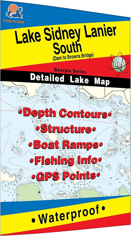 Lake Sidney Lanier-South Fishing Map Dam to Browns Bridge