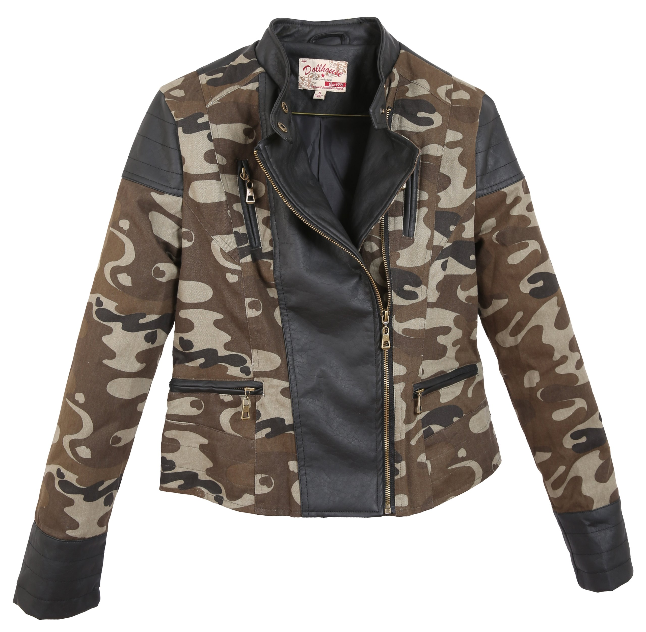 Dollhouse Junior'S Full Zip Leather Trimmed Jacket With Buttoned Mock Neck - Camo (Large)