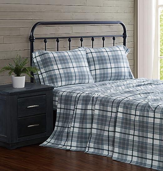 Amazon Com London Fog Cotton Flannel Sheet Set Twin Blue Plaid Home Kitchen