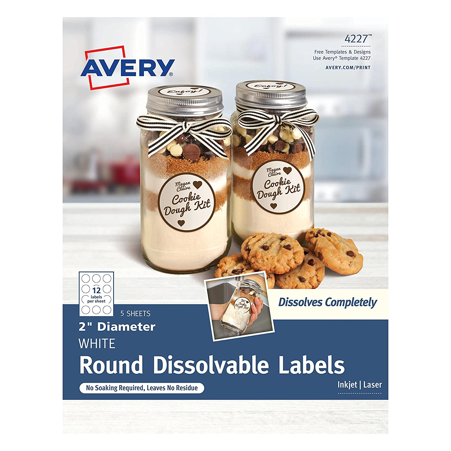 """Avery Dissolvable Round Labels, 2"""" Diameter, Pack of 60 (4227)"""