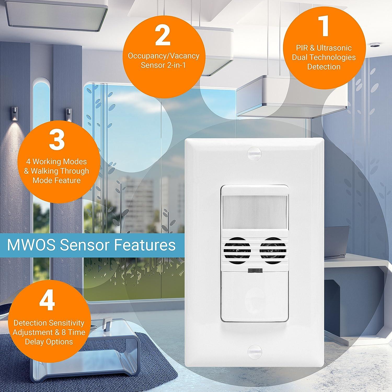 Enerlites mwos-w Interruptor Sensor de movimiento, ultrasónico y tecnología Dual PIR, detector de movimiento, sensor de movimiento interruptor de luz, ...