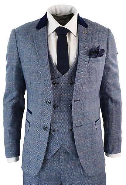 Marc Darcy Abito a Doppio Petto 4 Pezzi da Uomo Completo Vintage Blu a  Scacchi  Amazon.co.uk  Clothing 718c16df4bf