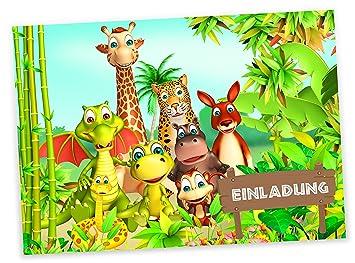 Schön 12 Einladungskarten U0026quot;Tierische Geburtstags Partyu0026quot; Fröhliche Tiere  Urwald Dschungel | Geburtstagseinladungen Einladungen